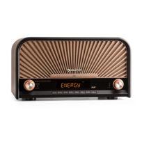 AUNA - Glastonbury Chaîne HiFi stéréo look rétro avec tuner DAB+ / FM , fonction RDS , interface Bluetooth , port USB et lecteur CD compatible MP3