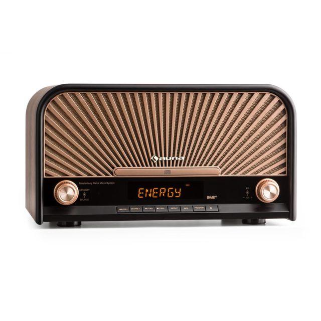AUNA Glastonbury Chaîne HiFi stéréo look rétro avec tuner DAB+ / FM , fonction RDS , interface Bluetooth , port USB et lecteu