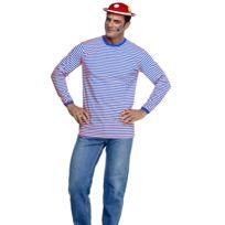 Festiveo - Déguisement Tee-Shirt Rayé Bleu et Blanc