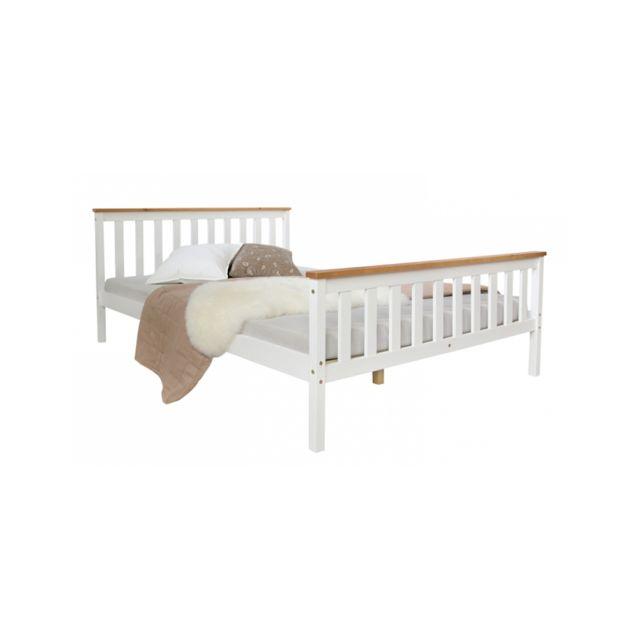 Homestyle4U Lit futon double 140x200 bois blanc