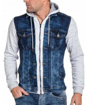 BLZ Jeans - Veste homme sweat blanc et jeans bleu à capuche. Description   Fiche technique. Ne loupez pas cette veste homme bi matière. 5d9edde39355