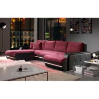 Canapé d\'angle fixe gauche avec led aubergine et noir PLANETE