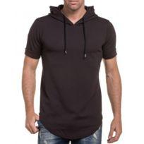 Celebry tees - T-shirt noir marron oversize maille damier à capuche