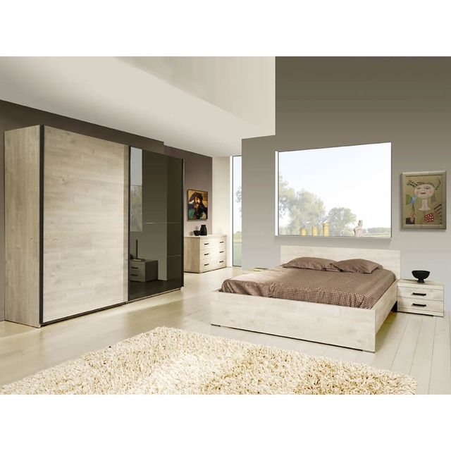 Altobuy Andes - Chambre 160x200 avec Armoire 2 Portes Coulissantes 220cm