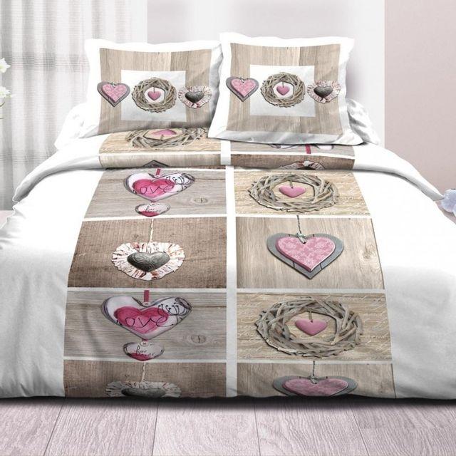 100pourcentcoton couette 240x260 cm microfibre double face imprim e heart pas cher achat. Black Bedroom Furniture Sets. Home Design Ideas