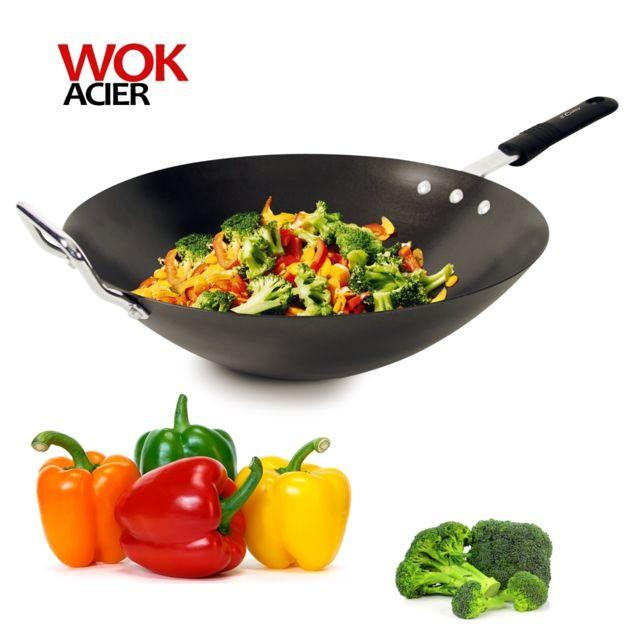 Cuisy Wok acier anti-adhérent induction 33cm