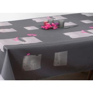le linge de jules nappe anti taches coquelicot fuchsia taille rectangle 150x200 cm gris. Black Bedroom Furniture Sets. Home Design Ideas