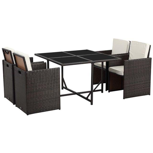 habitat et jardin salon de jardin r sine tress e marron buffalo luxe 4 table et 4 fauteuils. Black Bedroom Furniture Sets. Home Design Ideas