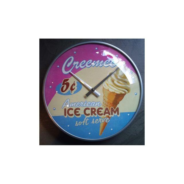 Universel Pendule metal ronde ice cream glace déco usa cuisine