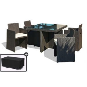 dcb garden table de jardin avec 4 fauteuils encastrables. Black Bedroom Furniture Sets. Home Design Ideas