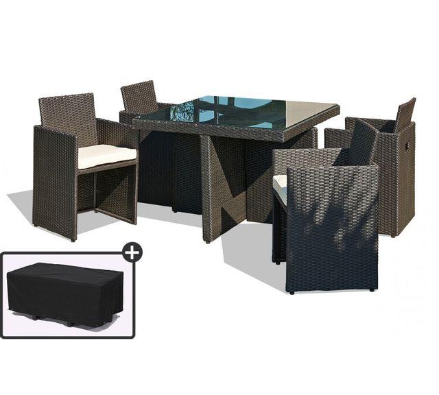 DCB GARDEN - Table de jardin avec 4 fauteuils encastrables noirs et ...