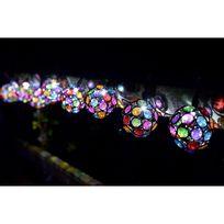 Smartsolar - Guirlande solaire 10 globes a facettes verre multicolore