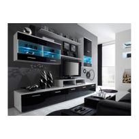 Chloe Design - Meuble tv design Logi - blanc et noir 2