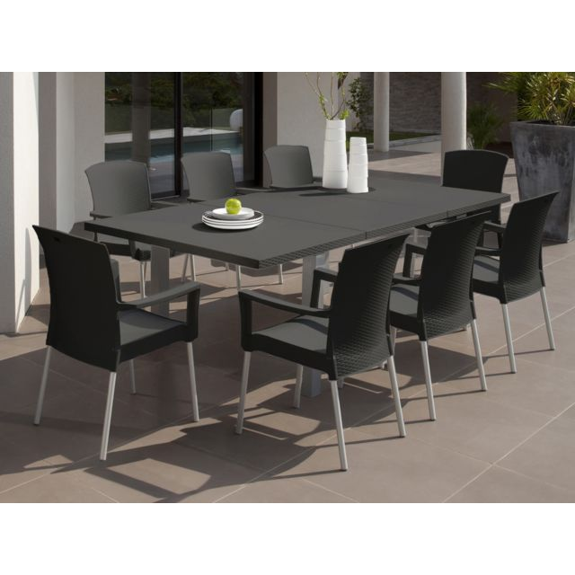 Grosfillex - Salon de jardin Ineo - 1 table rectangulaire + 8 ...