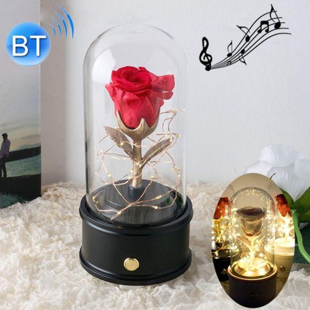 Wewoo Fleurs Artificielles Creative Single Rose Eternal Flower Glass Cover Night Light Gift BoxBluetooth Version Black