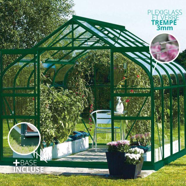 LAMS - Serre en verre trempé 3mm DIANA 8,25 m² avec base - Verte ...