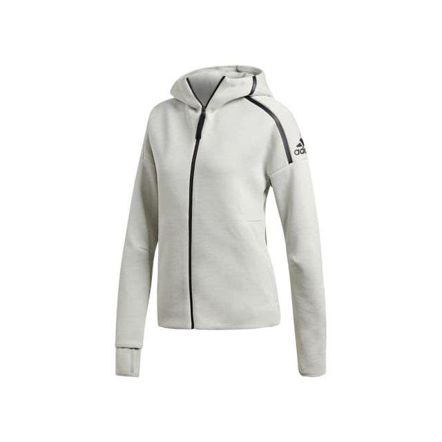 Adidas - Sweat-shirt Z.N.E Hoodie feat. Fast Release Zipper blanc pour femme  - pas cher Achat   Vente Tee-shirts c36cb4d5d23