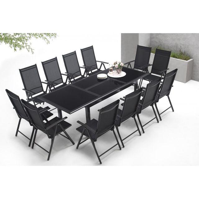 bobochic salon de jardin en aluminium 12 places torino noir pas cher achat vente ensembles. Black Bedroom Furniture Sets. Home Design Ideas