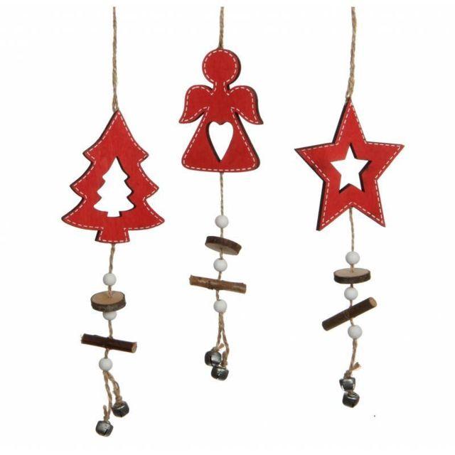 Lot 3 Décorations de Noël à Suspendre Motifs Sapin Angelot Etoile en Bois  Rouge Suspension pour Arbre de Noël 0,5x7x32cm