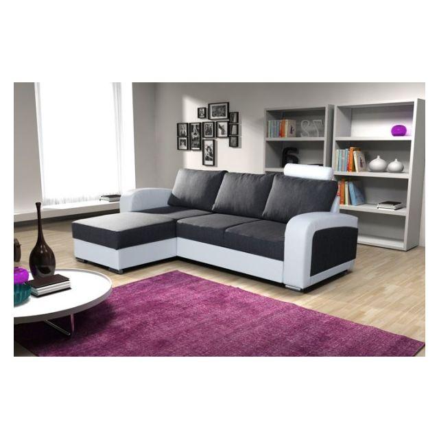 meublesline canap 233 d angle convertible en lit bones noir
