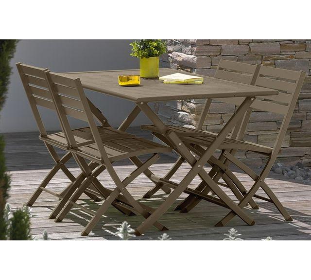 Dcb Garden Table pliante en aluminium beige
