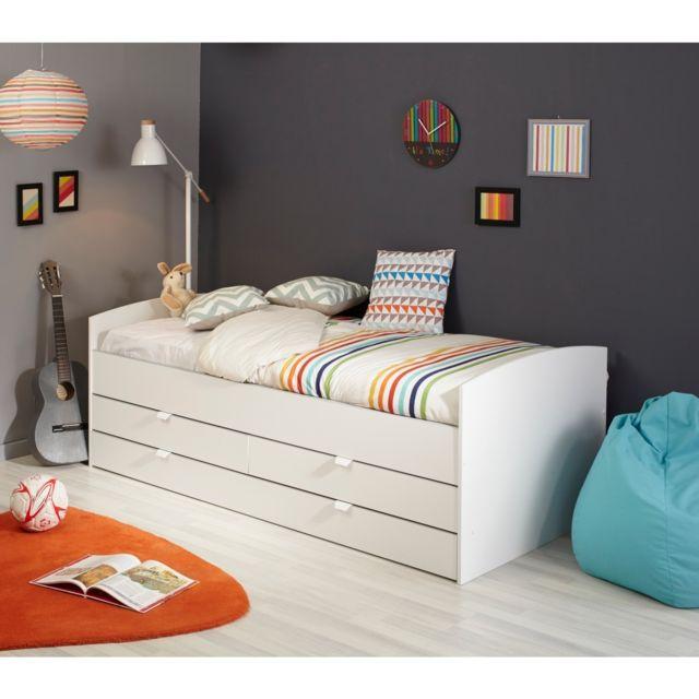terre de nuit lit enfant gigogne blanc 90x190 200 pas