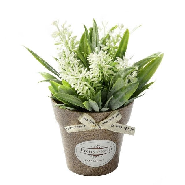 Wewoo Fleurs Artificielles 2 Pcs Faux Herbe de avec des en Pot Plastique Pour la Décoration de Ferme Rustique Jardin Blanc
