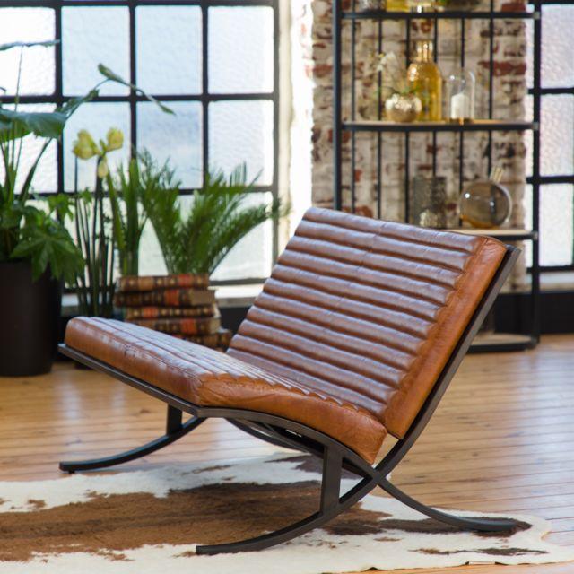 MADE IN MEUBLES Canapé vintage marron assise striée - pied design fonte | ME-222BR