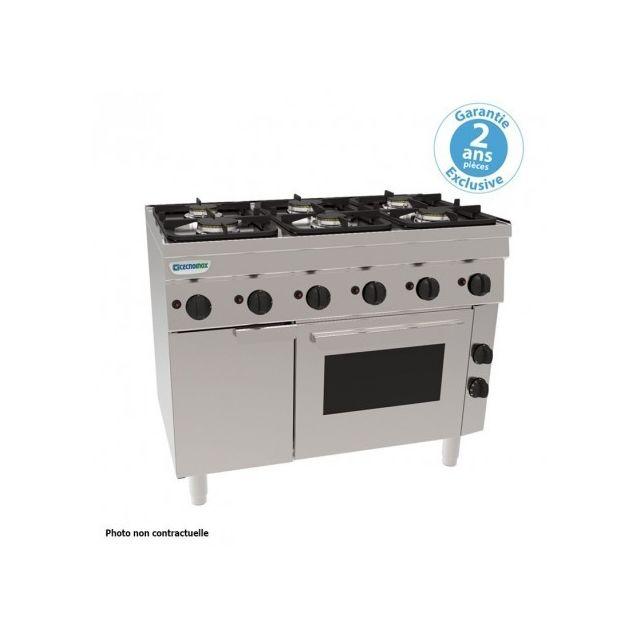 Materiel Chr Pro Piano de cuisson 4 feux sur four gaz statique - grilles 400 x 330 mm - gamme 600 - Tecnoinox - 600