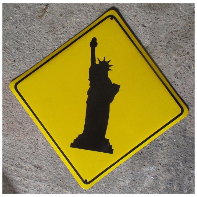 Universel Grosse plaque emaillee statue liberte jaune tole email Ny