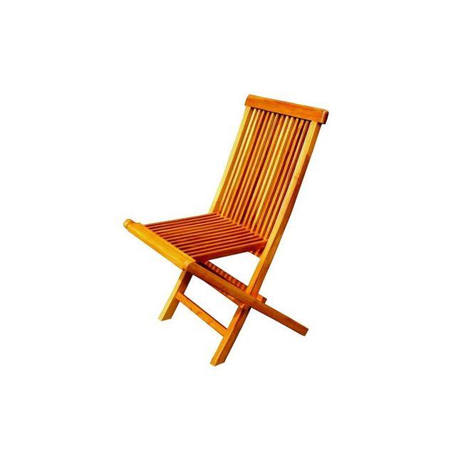 Rocambolesk Magnifique lot de 2 chaises pliantes jardin teck massif huilé