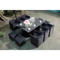 Concept Usine - Salon de jardin Miami encastrable en résine tressée noire - 10 personnes