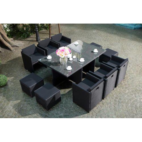 Soldes Concept Usine - Salon de jardin Miami encastrable en résine ...