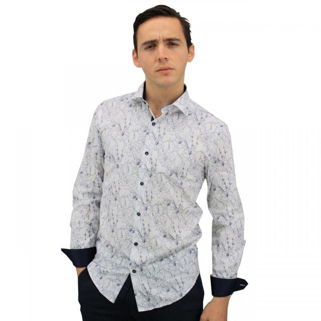 Meadrine chemise homme imprimé fleurs blanches-bleues Méadrine