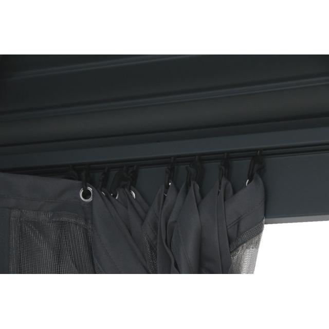 CARREFOUR Tonnelle en aluminium Plus produit :- Résistant aux UV,- Crochet de suspension,- Rideaux modulables, facile à installer par crochets et à nettoyer.Caractéristiques produit :- Dimensions : L 360 x l 300 x H 270 c
