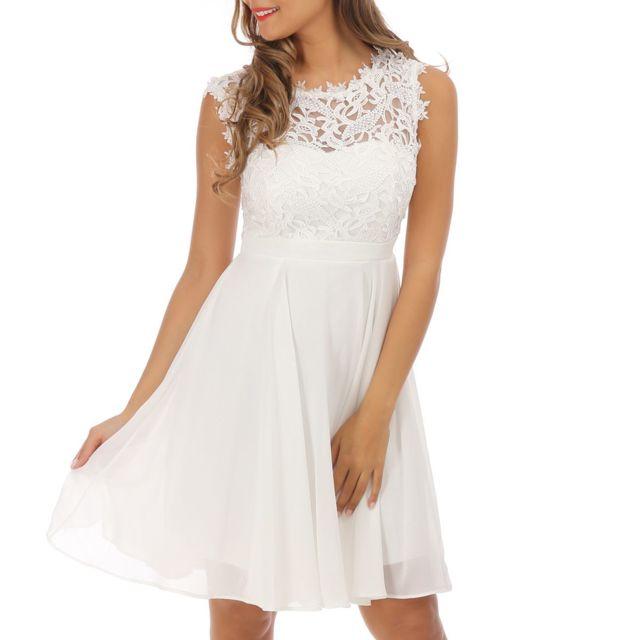 284c9e475a Lamodeuse - Robe blanche avec dentelle - pas cher Achat / Vente ...