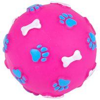 Promobo - Jouet Bruiteur Chien Balle Sonore Relief Plastique Maléable Rose Foncé 9cm