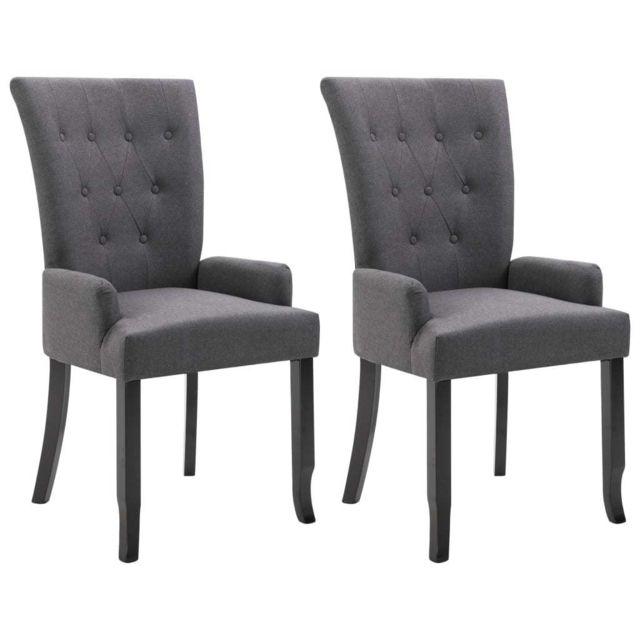 Icaverne Chaises de salle à manger serie Chaise de salle à manger avec accoudoirs 2 pcs Gris foncé Tissu