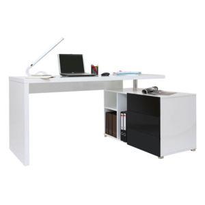 soldes miliboo bureau design blanc et noir laqu rangements droite maxi pas cher achat. Black Bedroom Furniture Sets. Home Design Ideas