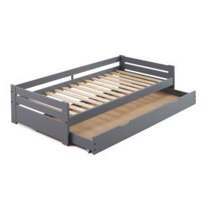 marque generique lit gigogne en bois 90x190 cm avec 1 sommier lattes et 1 tiroir lit maeline. Black Bedroom Furniture Sets. Home Design Ideas
