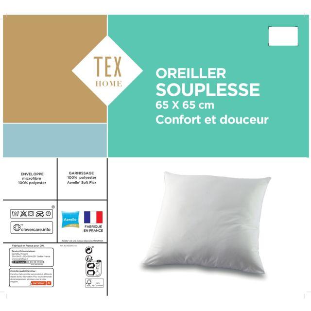 Bleu C/âlin Oreiller Ergonomique Confort et Lecture 65 x 65 cm