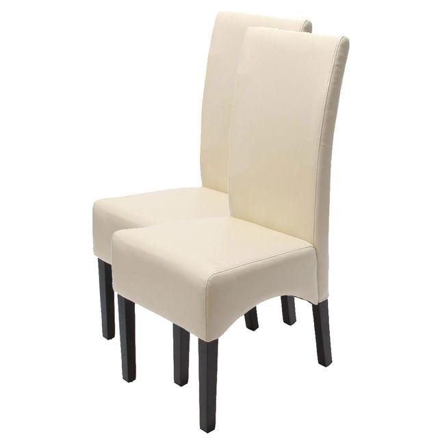 Lot de 2 chaises Latina, salle à manger, cuir reconstitué ~ couleur crème, pieds clairs