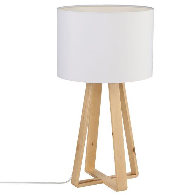 Atmosphera - Lampe à pied en bois - H. 47,5 cm Blanc