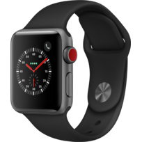APPLE - Watch 3 Cellular 38 - Alu noir / Bracelet Sport noir