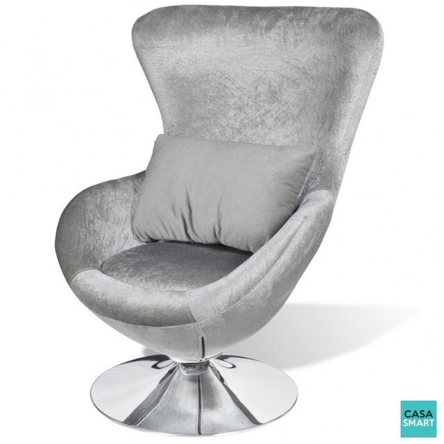Casasmart Seabrook fauteuil pivotant argenté