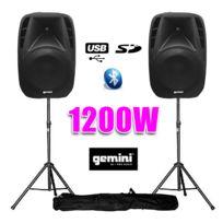 """Gemini - Paire d'enceintes amplifiées Boomer 12"""" 1200W+pied"""