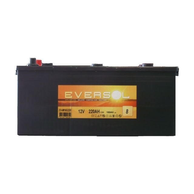 sellande batterie a decharge lente 220ah 12v eversol pas cher achat vente batteries. Black Bedroom Furniture Sets. Home Design Ideas