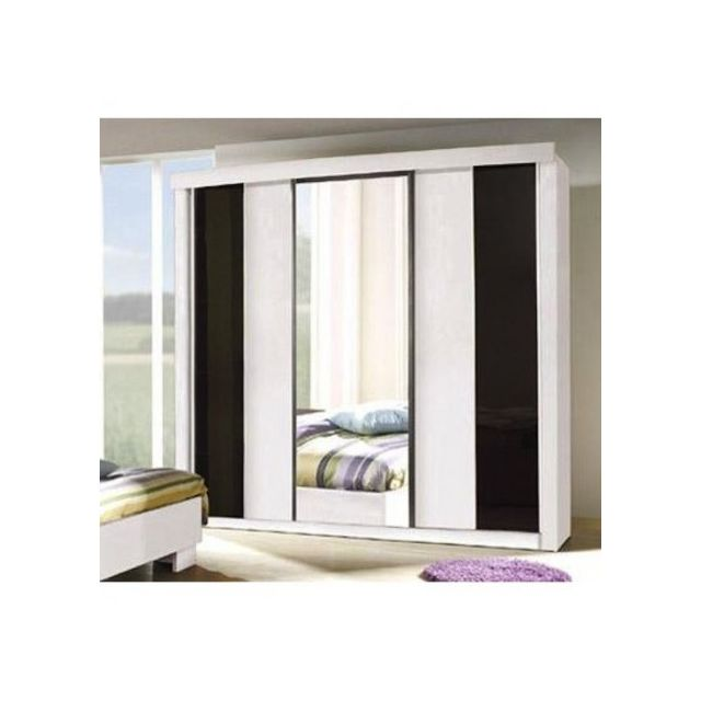 price factory armoire garde robe dublin trois portes coulissantes coloris noir et blanc. Black Bedroom Furniture Sets. Home Design Ideas