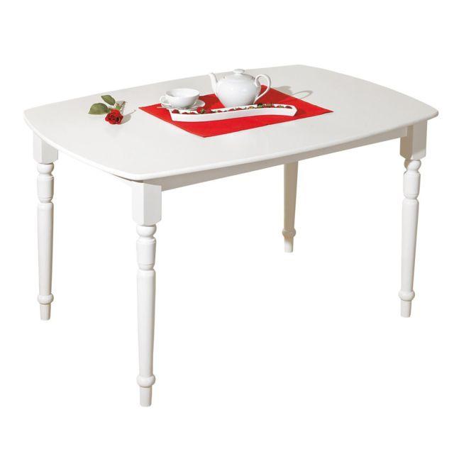 Comforium Table De Cuisine Classique Blanche Bonna Pas Cher
