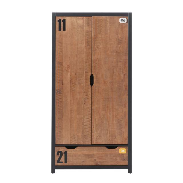 Marque Generique Armoire 2 portes 100 x 55 x 200 cm coloris marron